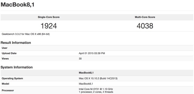 New MacBook benchmark